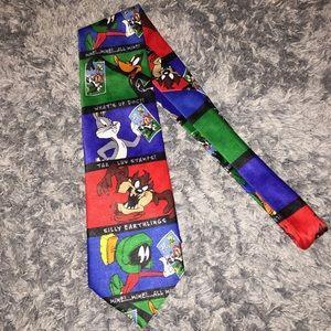 Vintage Looney Tunes USPS stamp tie 1997